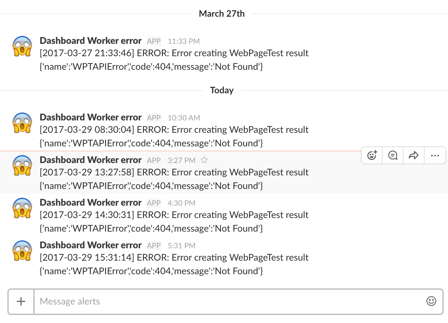 Getting alerts from Slack when we get an error in the logs